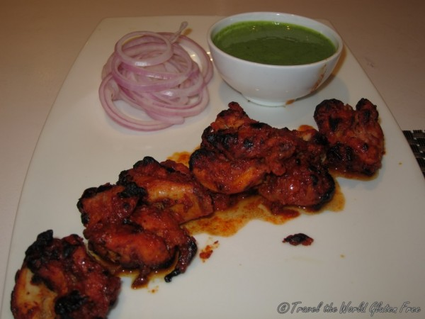 Chicken tikka with mint sauce