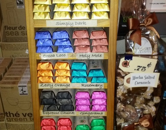 The colourful Denman Island Chocolate display at The Mercentile