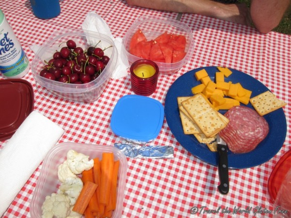 I love picnic food: salumi, cheese and the best gluten free crackers from Italy