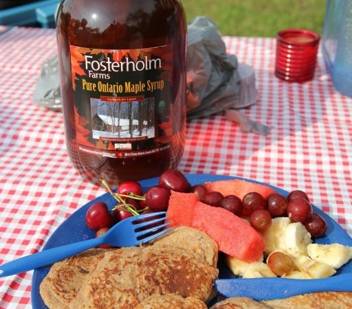 Pancakes and our newly bought jug of pure maple syrup