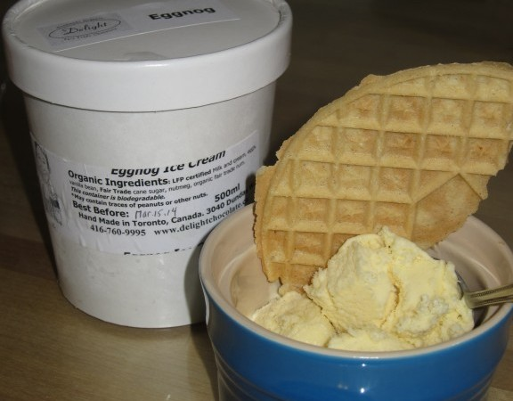 Delight's delicious eggnog ice cream with a Bix gluten free pizzelle