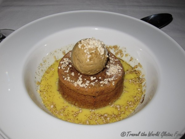 Flourless walnut cake with frangelico anglaise and espresso gelato