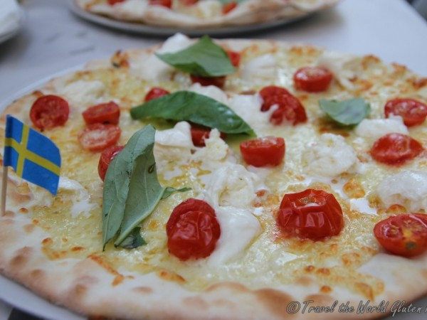 Just look at that gluten free pizza - white pizza with pomodorino, buffala and basil at Voglia di Pizza
