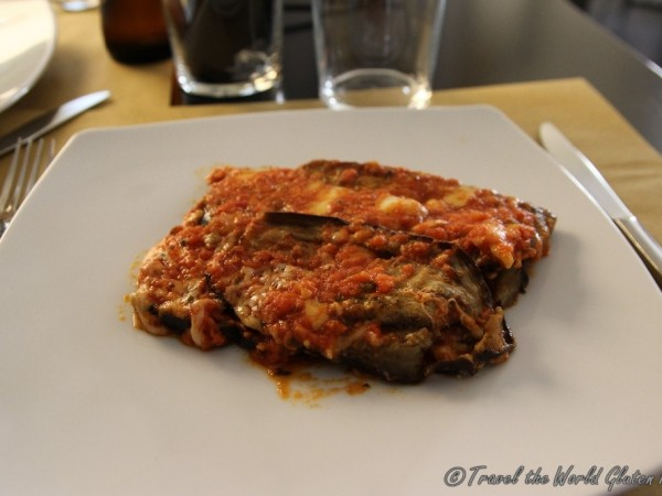 Delicious eggplant parmesan with one of the best tomato sauces I have eaten