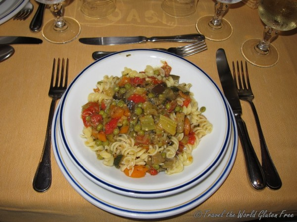 An incredible pasta dish topped with hearty vegetables