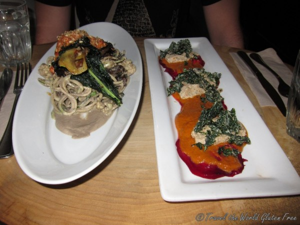 Our first RAW dinning experience - zucchini pasta and beet ravioli