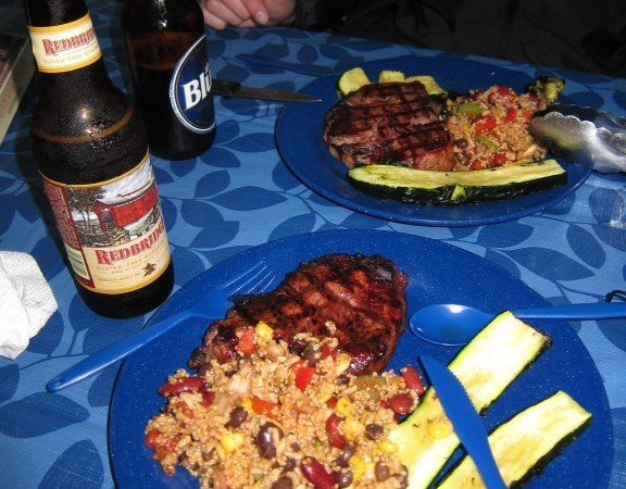 Steak, quinoa salsa salad and zucchini, served best with a nice cold Redbridge gluten free beer!