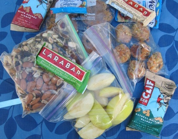 Snack food ideas: homemade carrot bites & peanut butter cookies, trail mix, apples and Lara Bars  (Clif Bars were Ryan's)